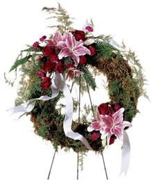 Lily and Rose Funeral Wreath