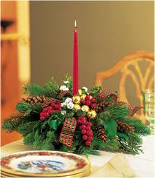 Single Candle Christmas Centerpiece